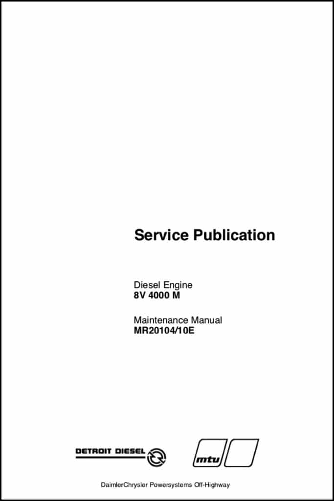 Detroit Diesel 8V 4000 M engine Maintenance Manual