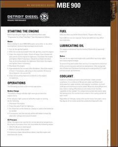 Detroit Diesel MBE900 Diesel Engine Reference Sheet