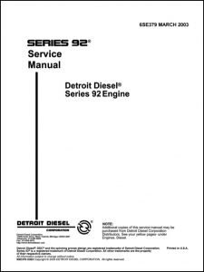 Detroit Diesel Series 92 diesel engine Service manual 2003