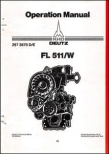 Deutz FL511W Diesel Engine Operation Manual