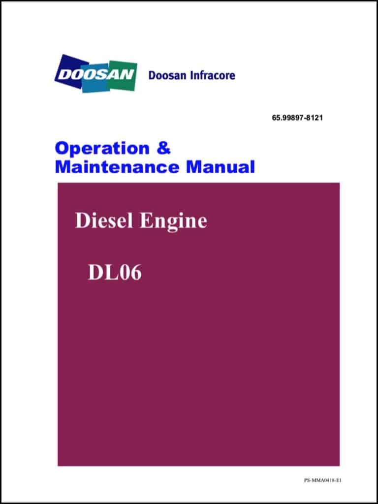 Doosan DL06 diesel engine Operator manual