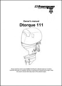 Dtorque Yanmar 111 diesel outboard Owner's Manual