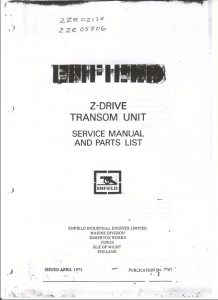 Enfield Z Unit Marine Gearbox Service Manual & Parts List