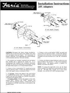 Faria 24V Adapters Installation Instructions