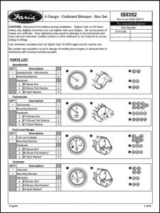 Faria 4 Gauges ISO352 Installation & Parts