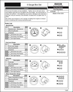 Faria 5 Gauge Speed ISO339 Installation & Parts Guide
