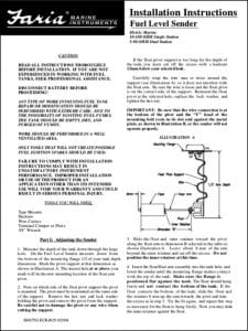 Faria Fuel Level Sender 10-180 Installation Guide