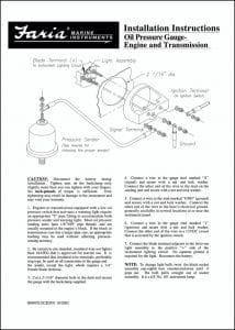 Faria Oil Pressure Gauge Sender Installation Guide