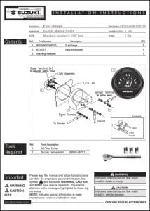 Faria Suzuki Fuel Gauge Installation Instructions