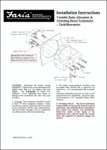Faria Variable Ratio Alternator & Switching Diesel Tachometer Installation Instructions