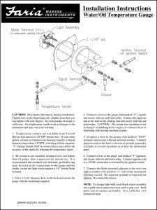 Faria Water Oil Temp Gauge Instructions