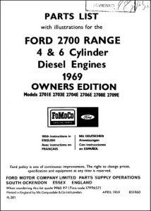 Ford 2700 Diesel Engine Parts List 1969