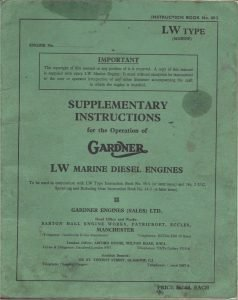 Gardner LW series diesel engines Supplementary Instructions
