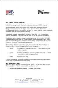 Gori 2-Blade folding propeller Installation instructions