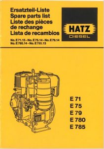 Hatz E71 Spare Parts List 1981