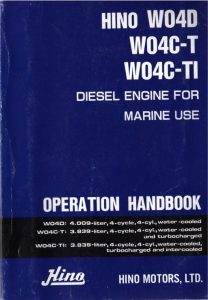 Hino W04D Marine diesel engine Operation Manual