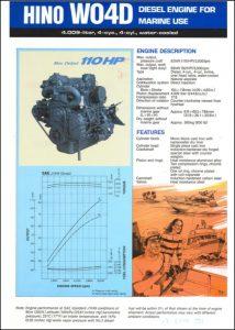Hino W04D marine diesel engine Technical Sheet