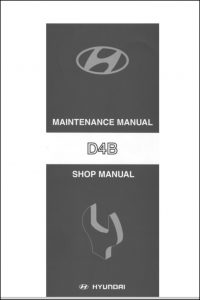 Hyundai D4B diesel engine Maintenance Manual