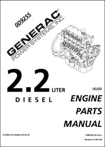 Isuzu 2.2L diesel engine Parts Manual