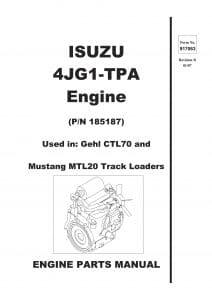 Isuzu diesel engine 4JG1-TPA Parts Manual