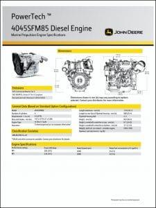 John Deere 4045SFM50 marine diesel engine Specifications