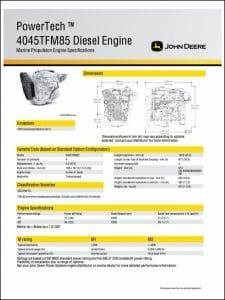 John Deere 4045TFM85 marine diesel engine Specifications