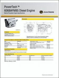 John Deere 6068AFM85 marine diesel engine Specifications