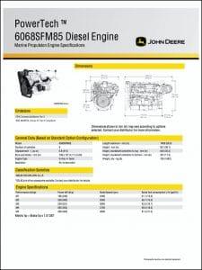 John Deere 6068SFM85 marine diesel engine Specifications
