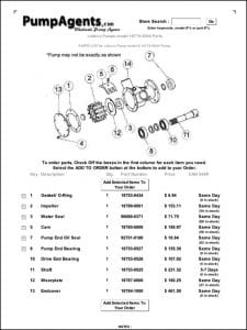 Jabsco Pump 18770-0004 Parts List