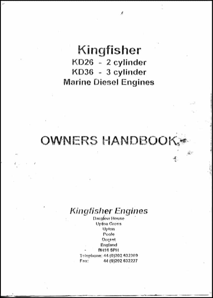 Kingfisher KD26 diesel engine Owner's Handbook