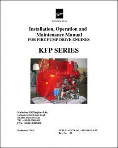 Kirloskar KFP Series diesel engine Installation, Operation & Maintenance Manual