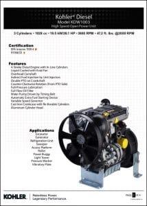 Kohler KDW 1003 diesel engine Technical Specifications