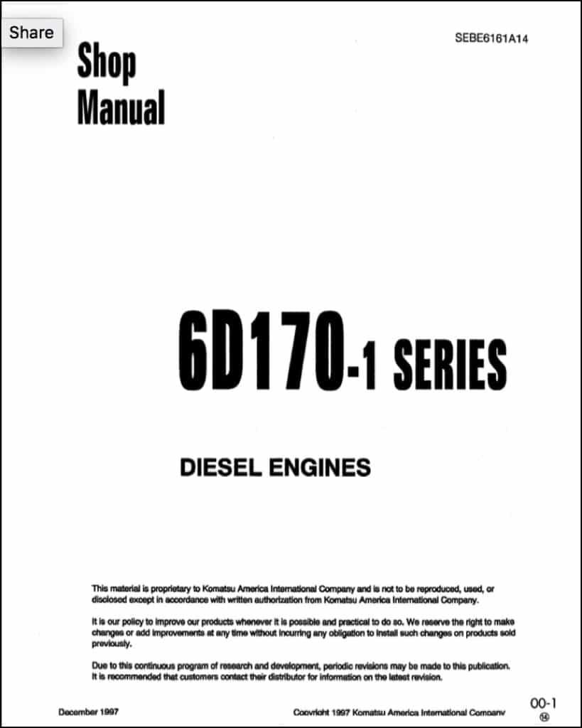 Komatsu 6D170E-1 diesel engine Shop Manual