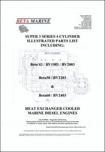Beta 43 etc marine diesel engines Illustrated Parts List