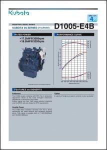 Kubota D1005 E48 diesel engine Brochure