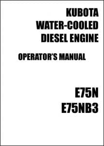 Kubota Diesel Engine E75N Operator Manual
