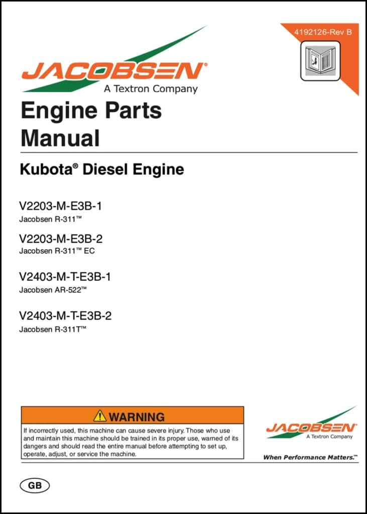 Kubota sel Engine V2203-M-E3B-1 Parts Manual - MARINE SEL BASICS