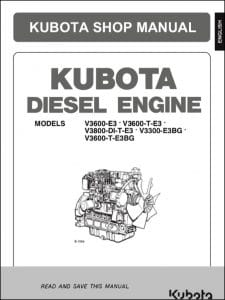 Kubota V3600-E3 diesel Engine Shop Manual