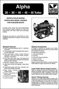 Lister Petter Alpha Series 20 Diesel Engine Information Sheet