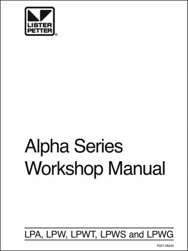 Lister Petter Alpha Series Diesel Engines Workshop Manual