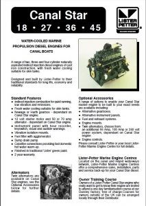 Lister Petter Canal Star 18 Diesel Engine Information Sheet
