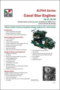 Lister Petter Canal Star Technical Data Sheet