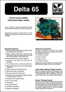Lister Petter Delta 65 Marine Diesel Engine Brochure