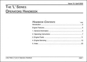 Lister Petter L Series Marine Diesel Engine Operators Handbook
