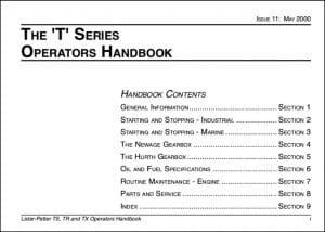 Lister Petter T Series Marine Diesel Engine Operators Handbook