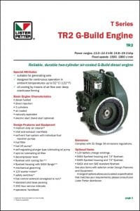 Lister Petter TR2 G Build Diesel Engine Technical Data Sheet