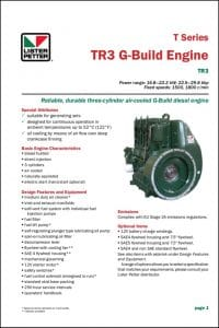 Lister Petter TR3 G Build Diesel Engine Technical Data Sheet