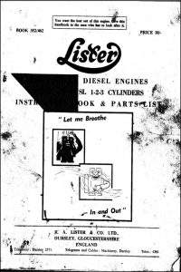 Lister LD1, SL1 Diesel Engine Instruction Book