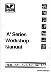 ListerPetter diesel engine A Series workshop manual cover