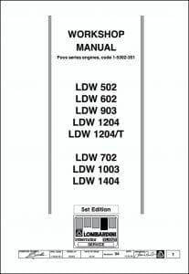 Lombardini LDW502LDW etc diesel engines Workshop Manual 1999